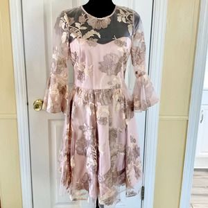 Eliza J Floral Jacquard Fit and Flare Dress Sz 6